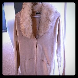 The Limited cardigan with faux fur trim